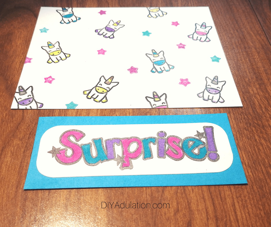 Surprise Stamp Matted on Teal Cardstock