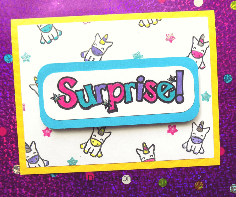 Surprise Unicorn Card on Purple Background