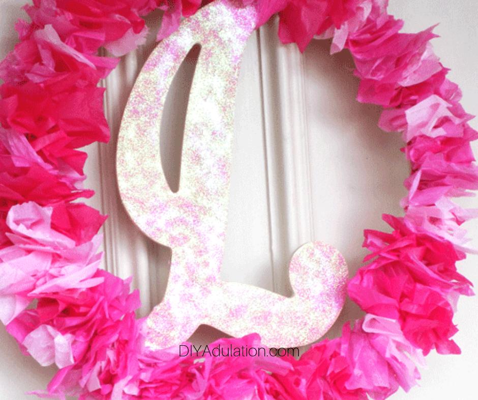 Tissue Paper Monogram Wreath Hanging on Door