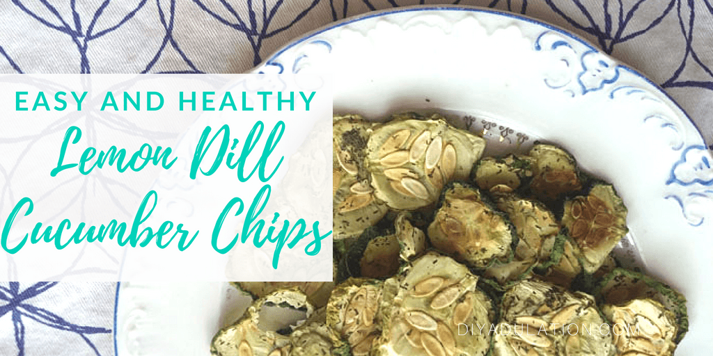 Cucumber Chips on Plate with text overlay: Easy and Healthy Lemon Dill Cucumber Chips