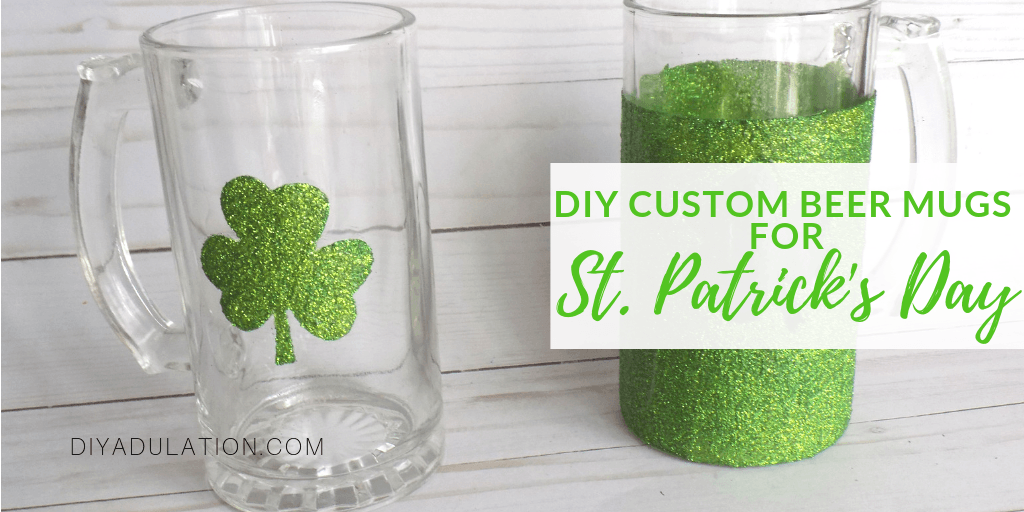 Close up of Glitter Shamrock Beer Mug with text overlay - Custom Beer Mugs for St Patricks Day