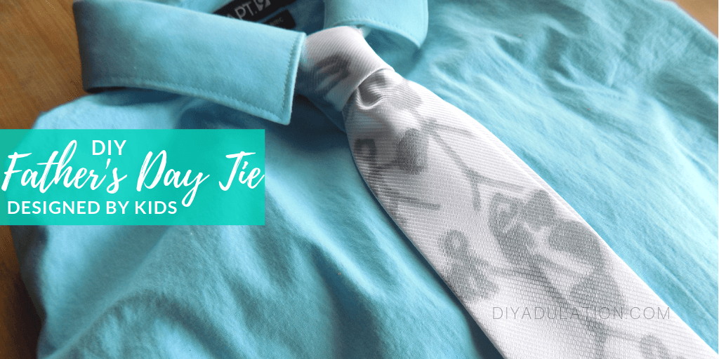 Kids Drawings Tie on Teal Shirt with text overlay - DIY Father's Day Tie Designed by Kids