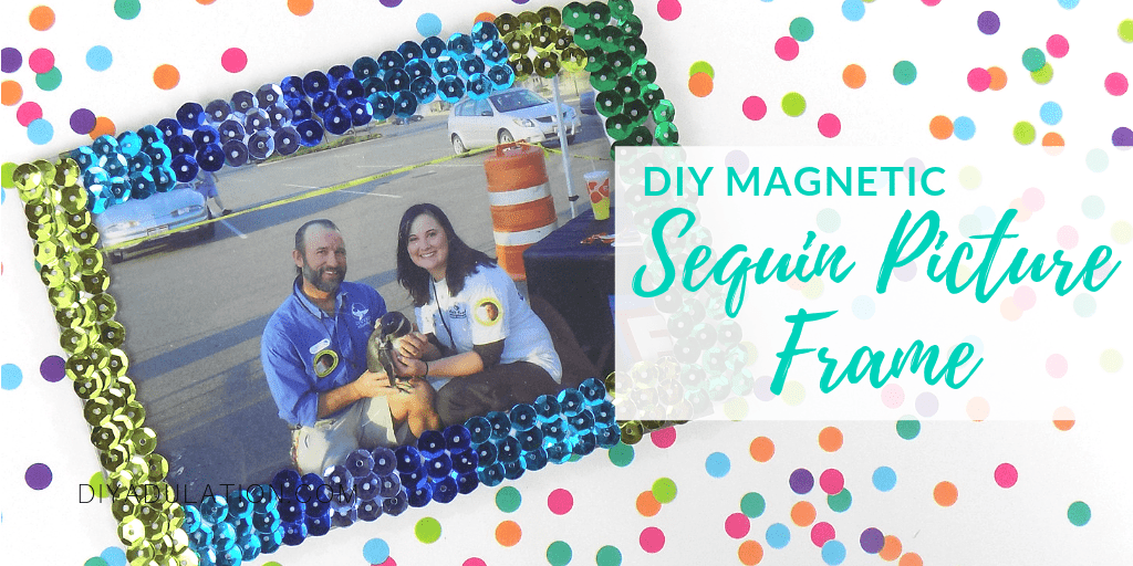 Magnetic Sequin Picture Frame on Polka Dot Background with text overlay - DIY Magnetic Sequin Picture Frame