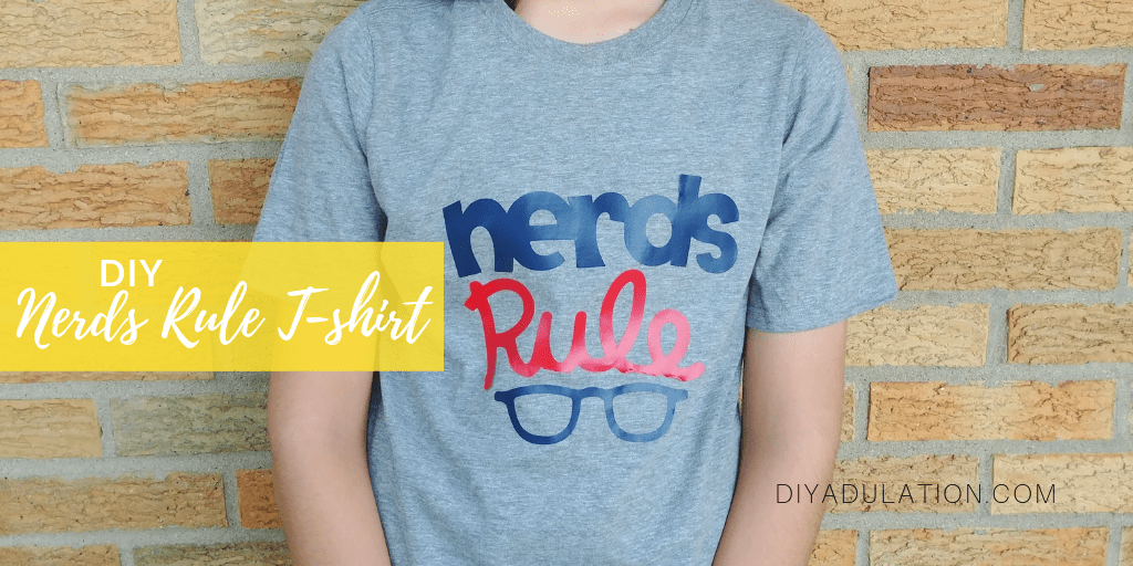 Close Up of Boy Wearing Nerds Rule T-shirt with text overlay - DIY Nerds Rule Teeshirt