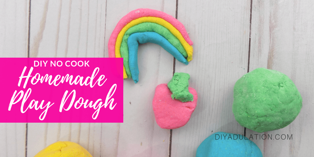 Balls of Play Dough Next to Creations with text overlay - Glittery No Cook Homemade Play Dough