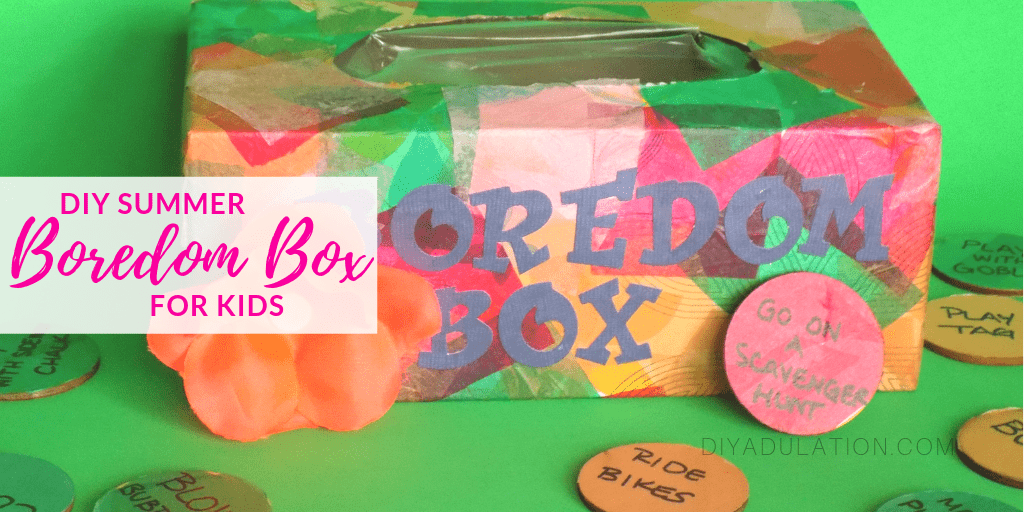 Colorful Tissue Box with Flower next to Colorful Discs with text overlay - DIY Summer Boredom Box for Kids