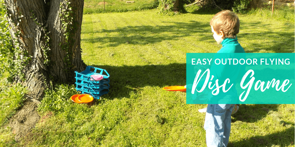 Kids Playing Flying Disc Game with text overlay - Easy Outdoor Flying Disc Game