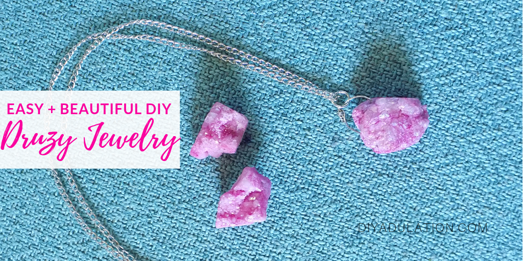 Pink Druzy Necklace and Earrings on Teal Background with text overlay - Easy and Beautiful DIY Druzy Jewelry Set