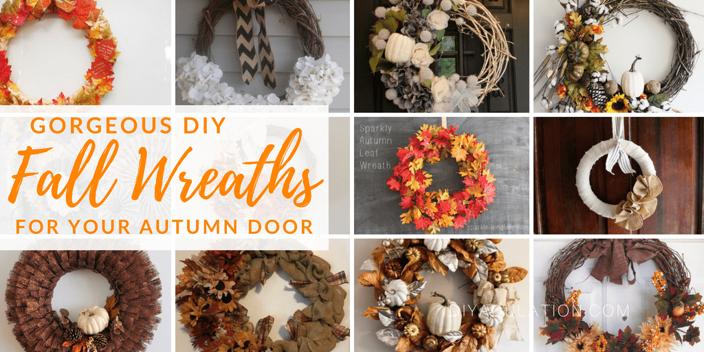 Collage of fall wreaths with text overlay: Gorgeous DIY Fall Wreaths for Your Autumn Door