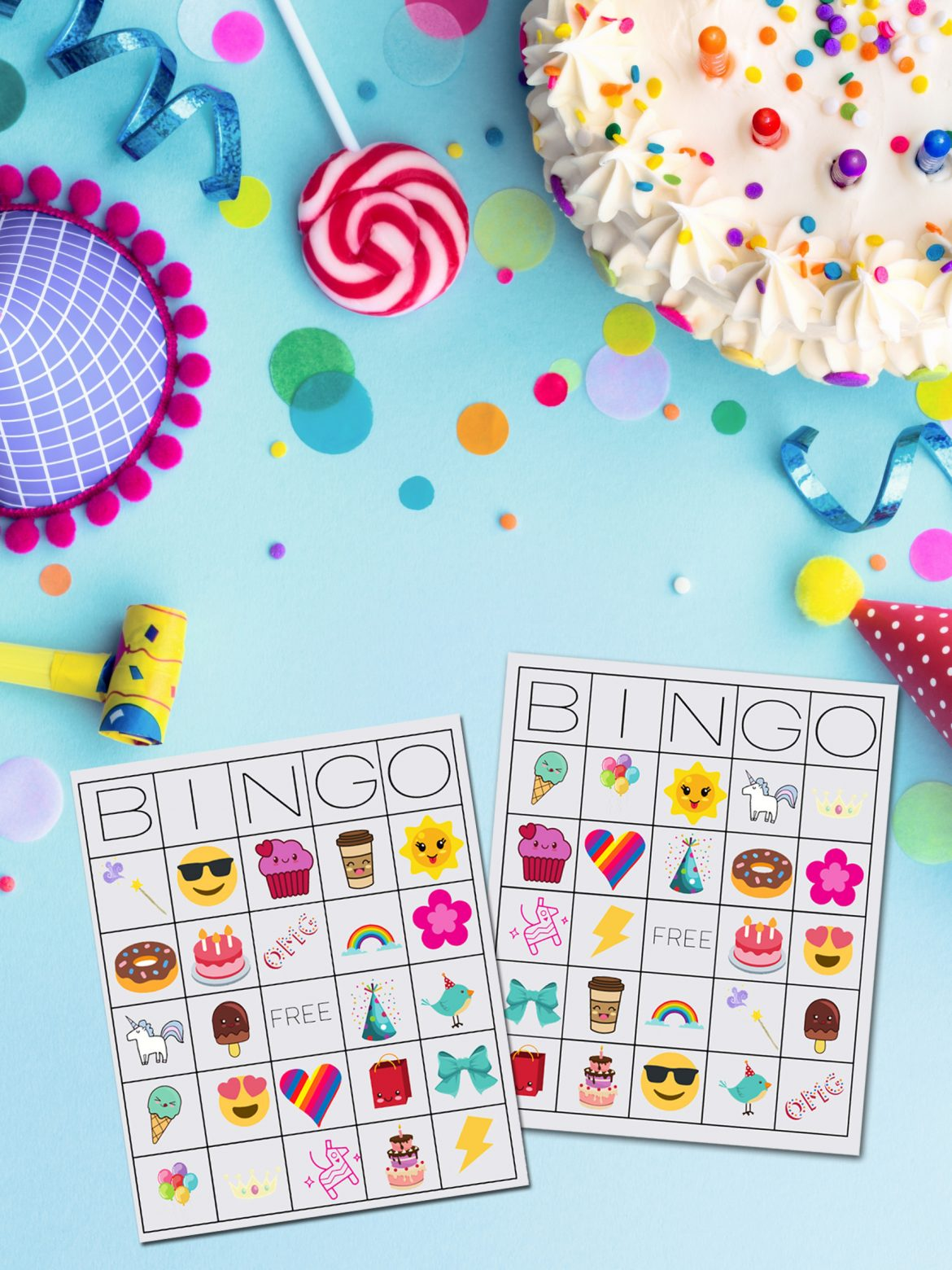 Unicorn Bingo Printable next to colorful candy