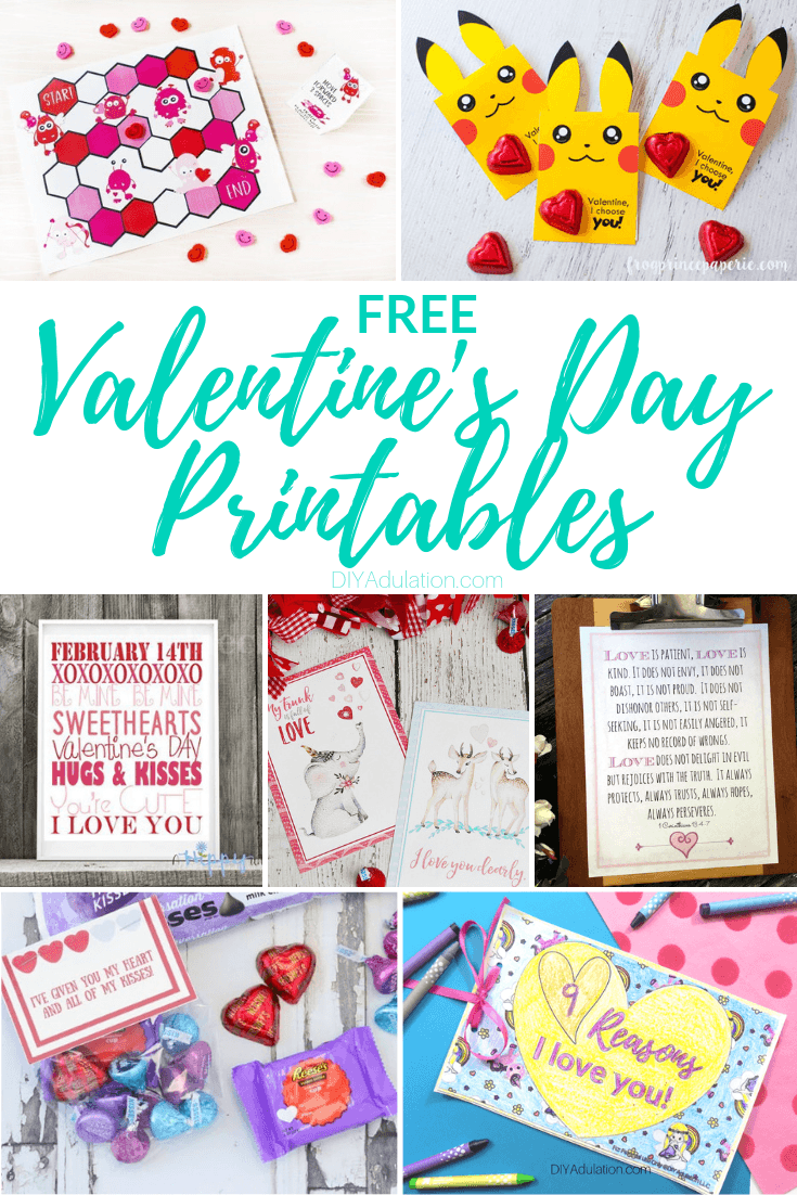 Valentines Day Printables with text overlay - Free Valentines Day Printables