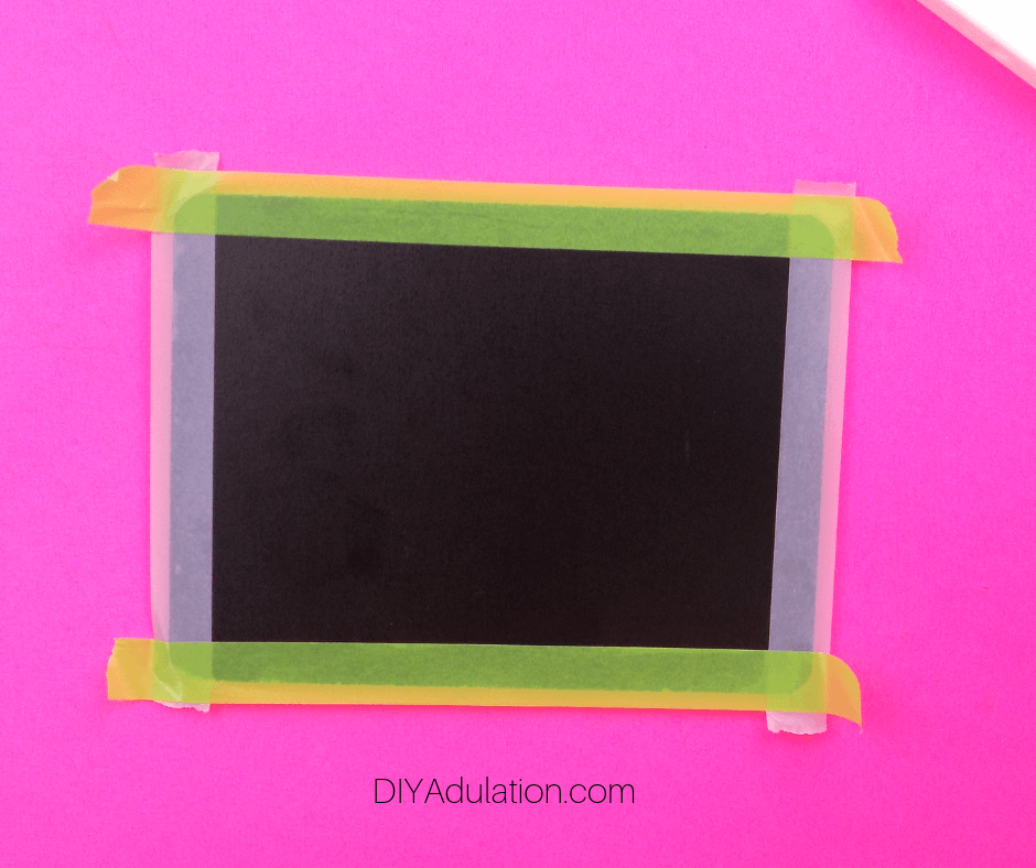 Washi Tape on Long and Short Edges of Chalkboard