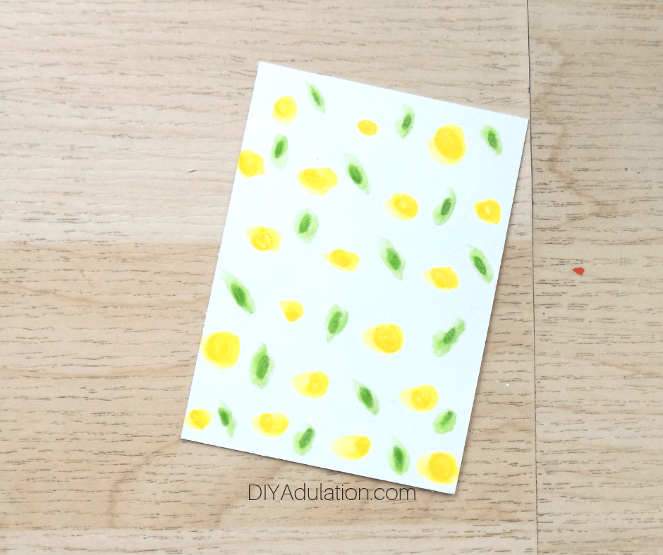 Watercolor Yellow and Green Dot Card