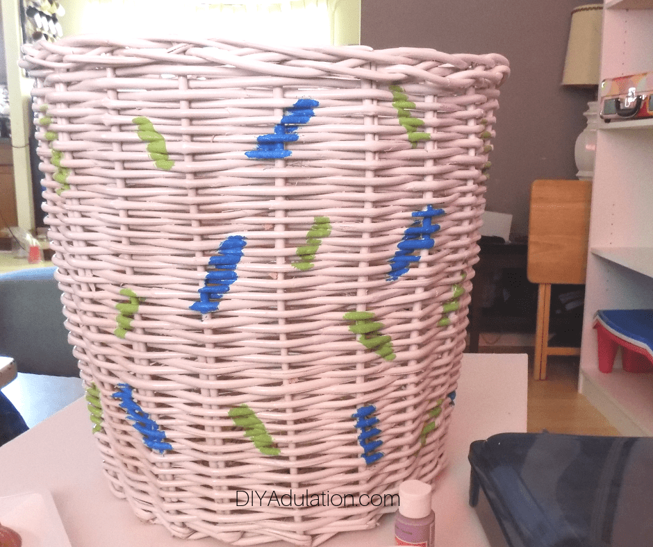 White Basket with Green and Blue Sprinkles Painted on It