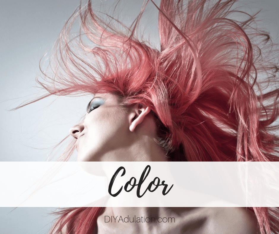 Woman with pink hair with text overlay - Color
