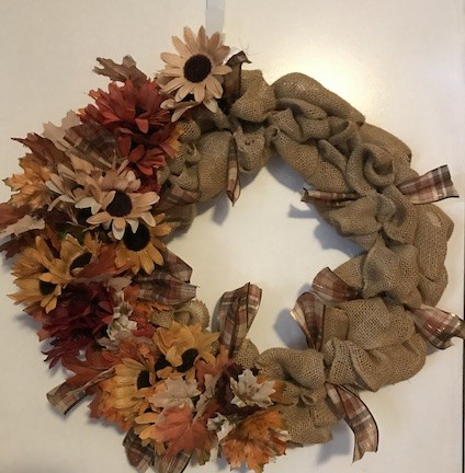 Burlap fall floral wreath