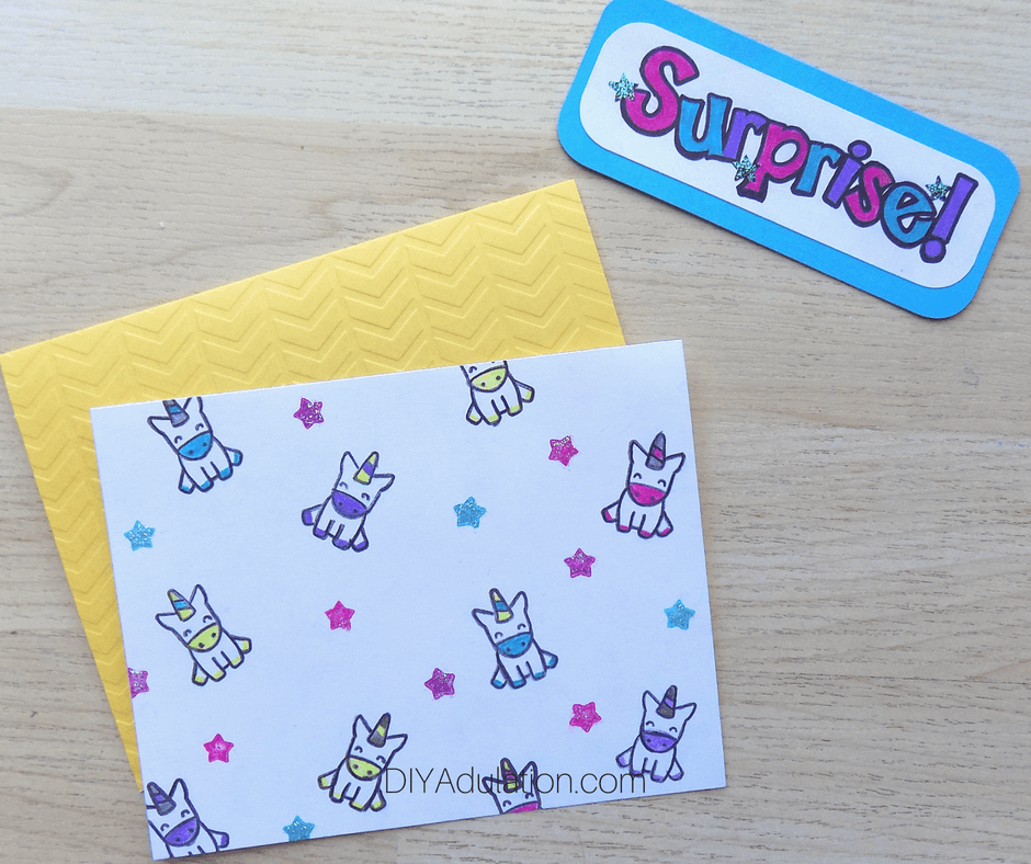 Yellow Card with Unicorn Cardstock and Surprise Saying