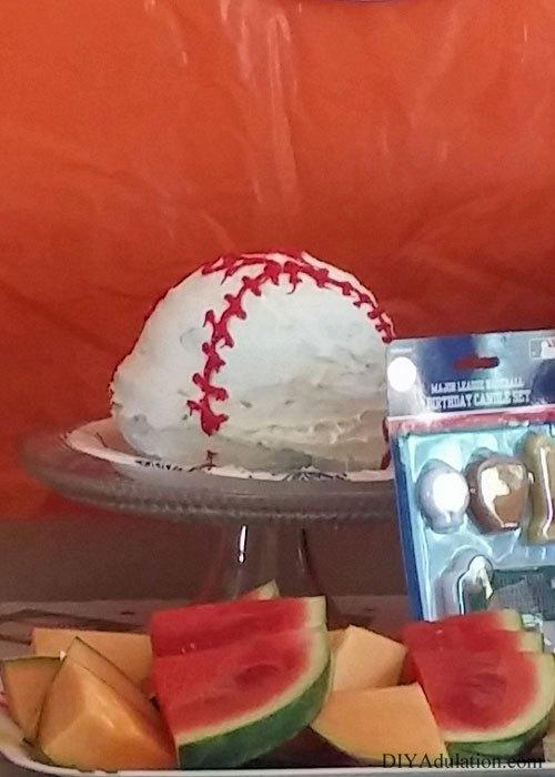 Baseball Cake on Cake Plate