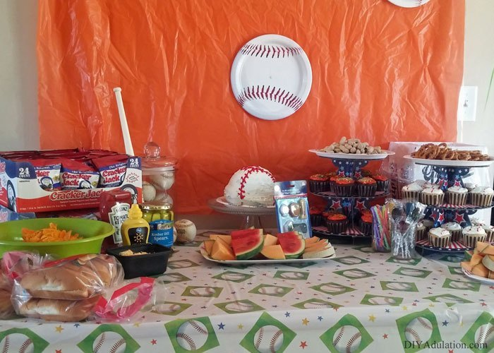 Baseball Themed Party Table with food