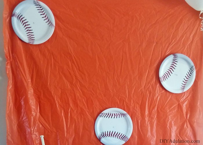 Baseball Plates on Orange Background
