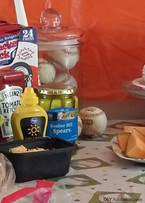 Baseball Party Food on Table