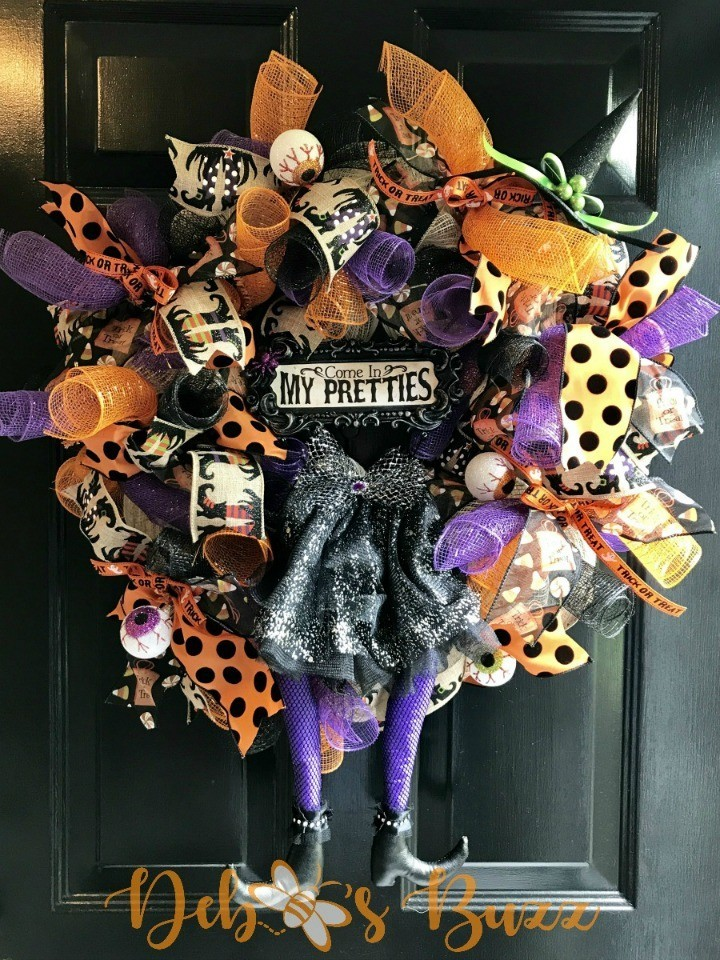 Multicolored Ribbon Halloween Wreath with Witch Legs