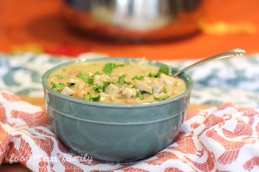 Bowl of chicken poblano soup