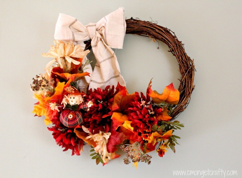 Fall Grapevine Wreath with fabric bow and fall floral accents