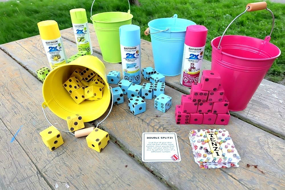 Colorful Outdoor Tenzi Yard Dice Game on Picnic Table