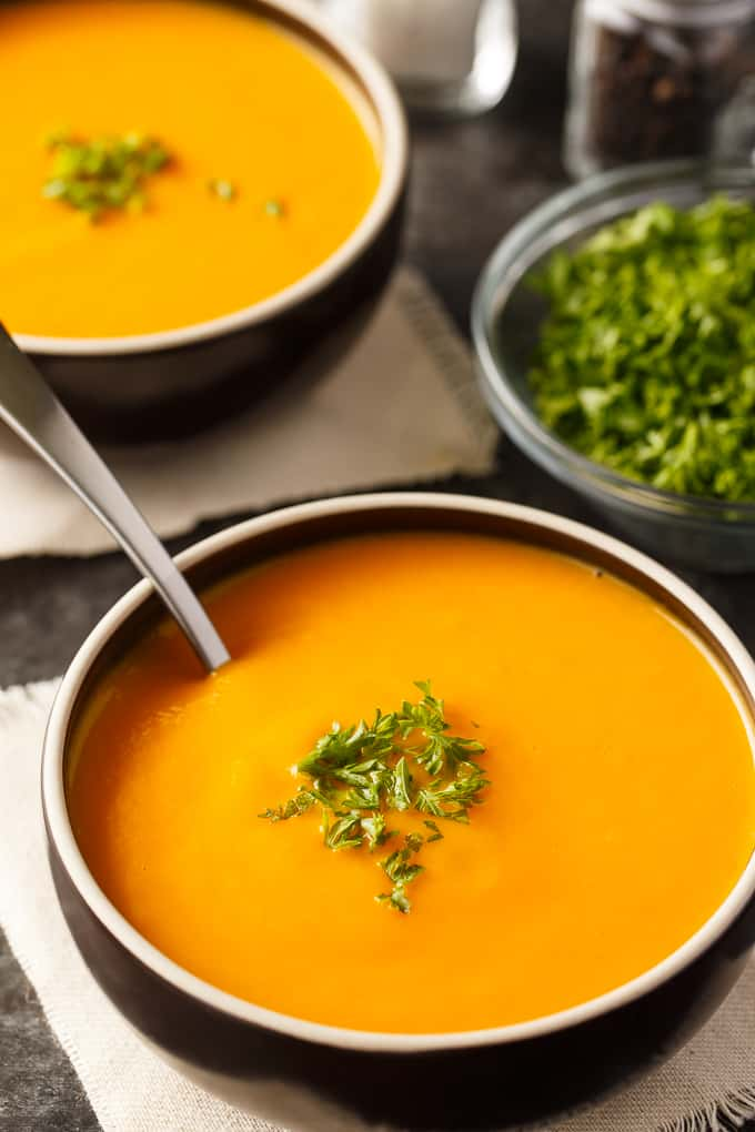Bowl of cream of carrot soup