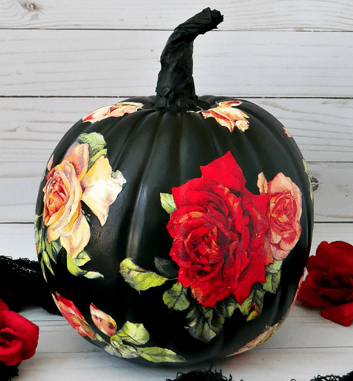 Black pumpkin with roses