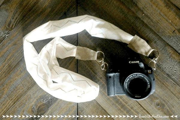 Camera with fabric camera strap