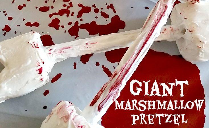 Bloody marshmallow bones on blood splattered background