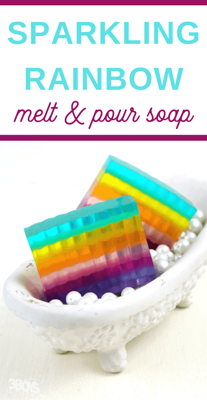 rainbow soap in small bathtub