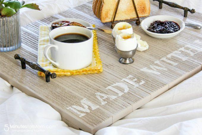 Breakfast on Wooden Serving Tray