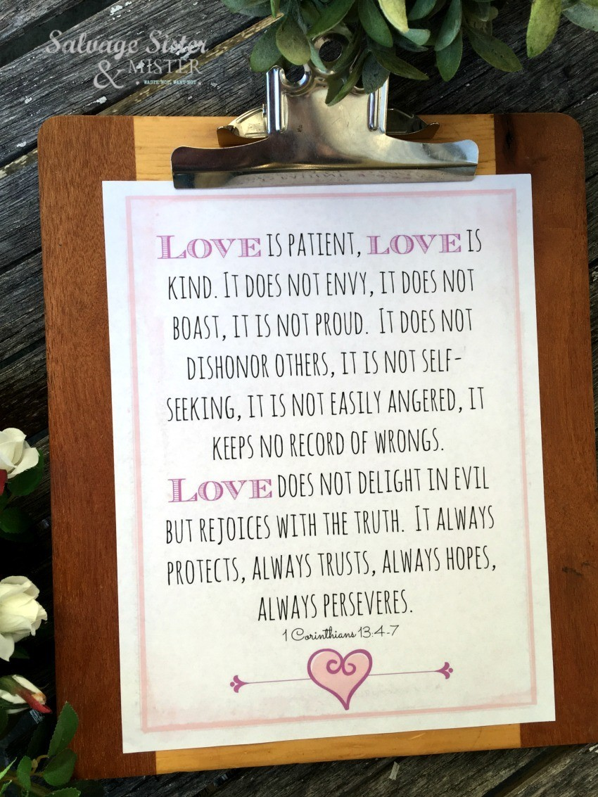 Printable Love Is on Clipboard