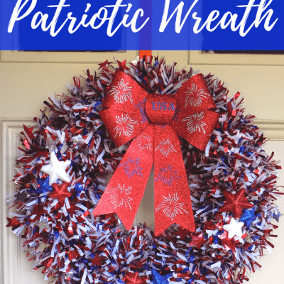 Shimmery Upcycled DIY Patriotic Wreath