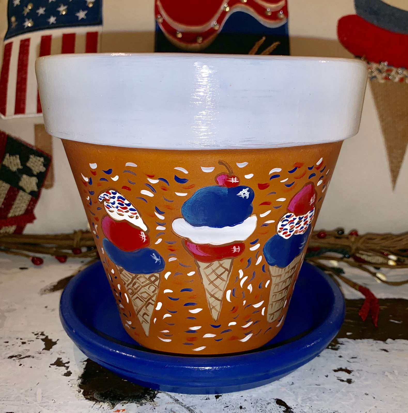 red white and blue ice cream flower pot