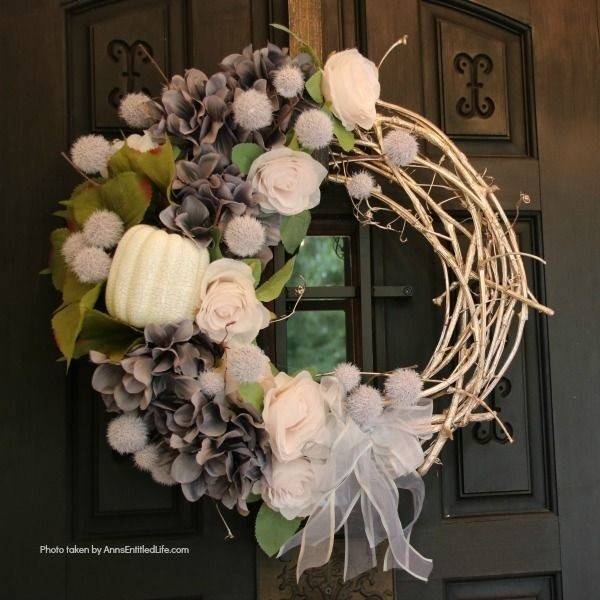 Shabby Chic Fall Wreath on Door