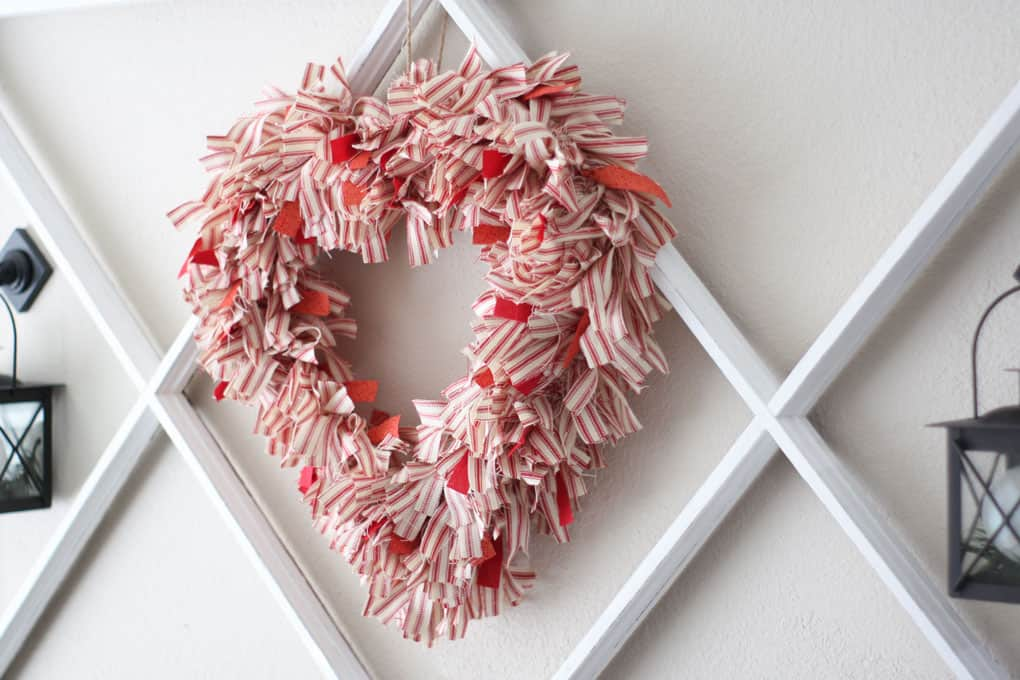 Ticking fabric heart wreath hanging on wall