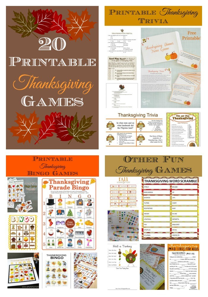 Collage of Printable Thanksgiving Games
