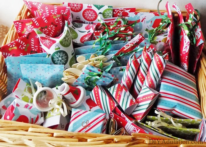 Small Wrapped Gifts in a Basket