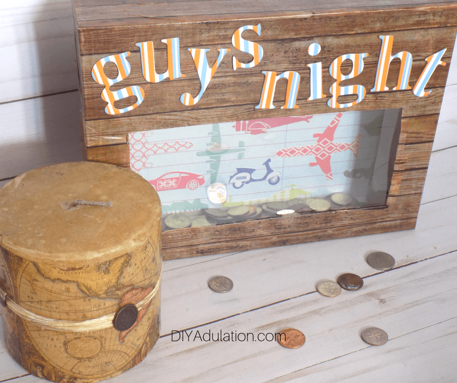 Angled View of Guys Night DIY Bank next to Map Candle