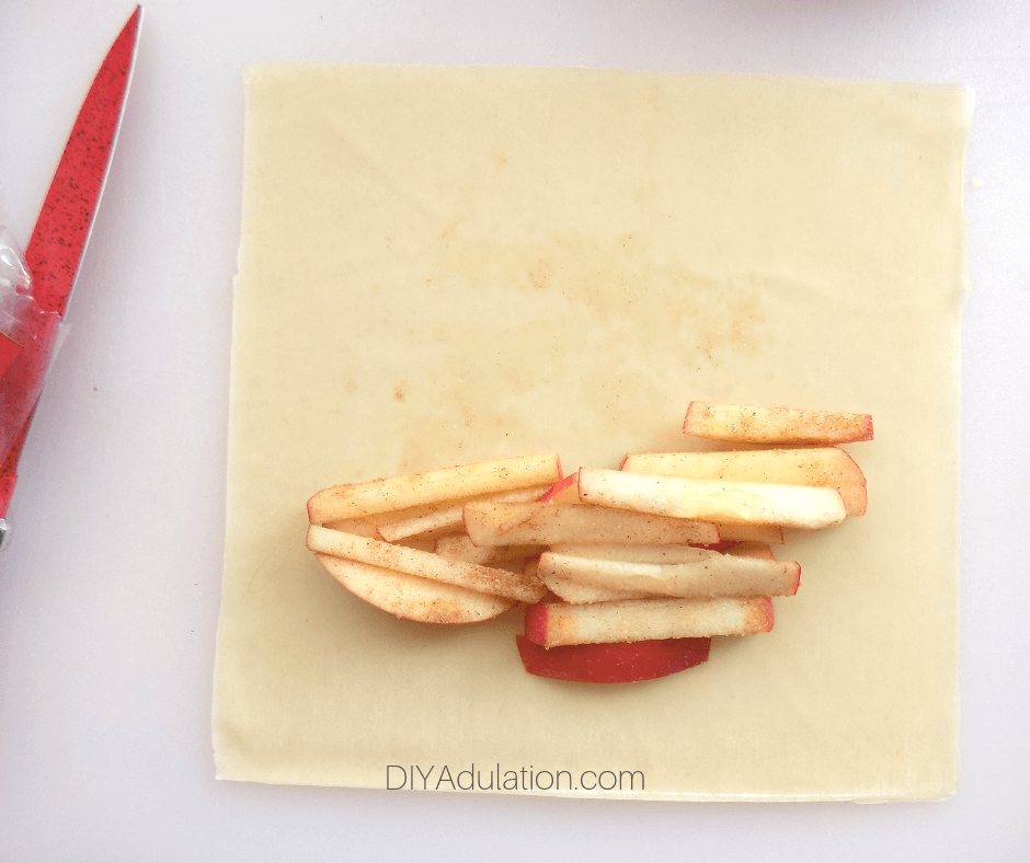 Apple Sticks on Egg Roll