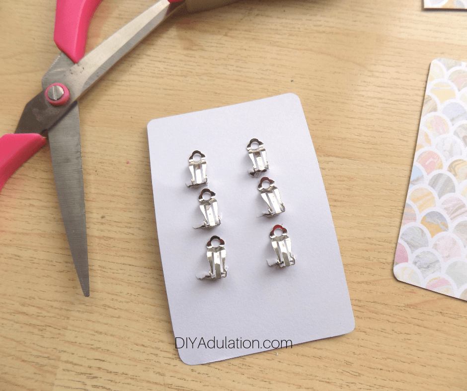 Back of Clip-On Earrings on Card