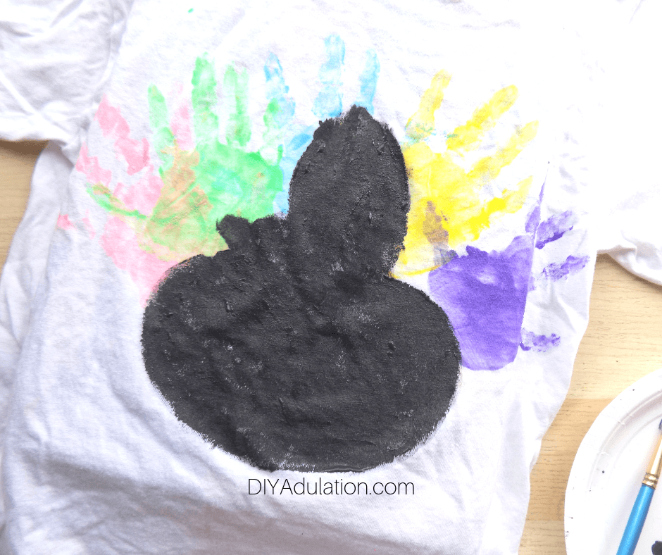Black Turkey over Colorful Hand Prints on White T-Shirt