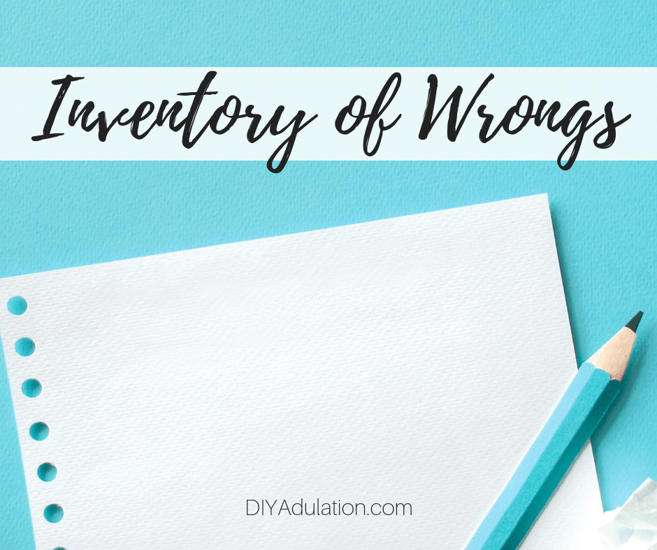 Blank Sheet of Paper next to Teal Pencil with text overlay - Inventory of Wrongs