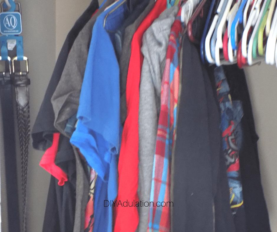 Boys Shirts Organized in Closet