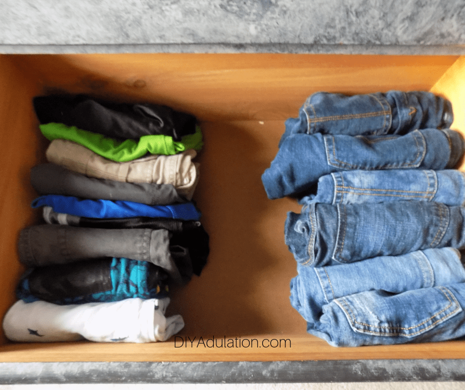 Boys Shorts and Pants Organized in Drawer