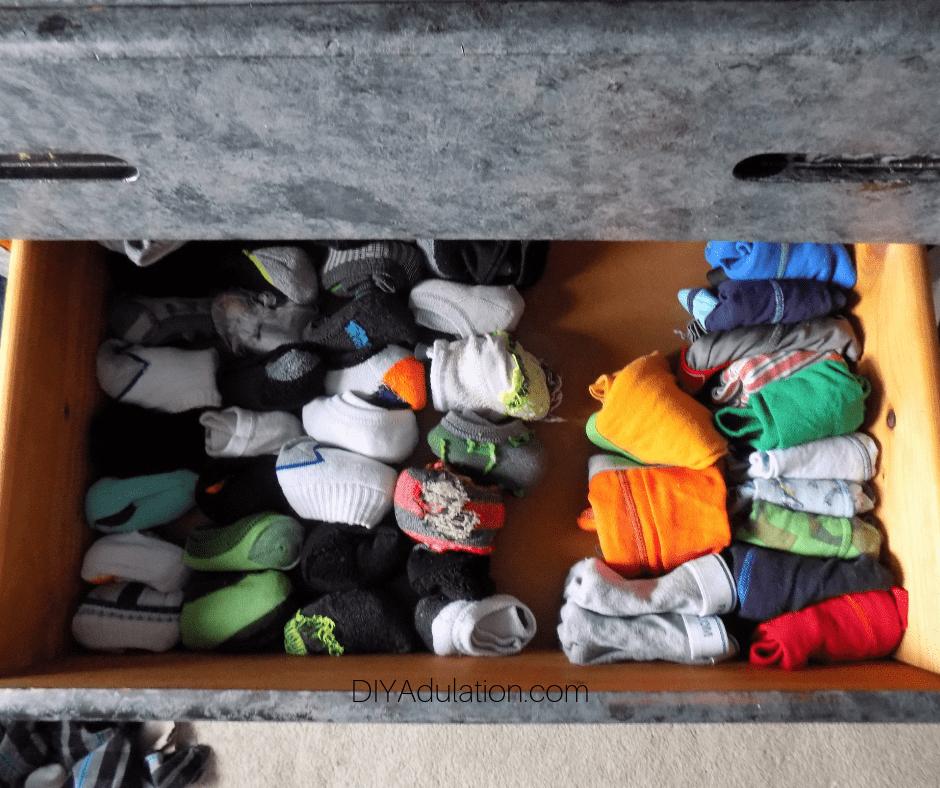 Boys Socks and Underwear Organized in Drawer